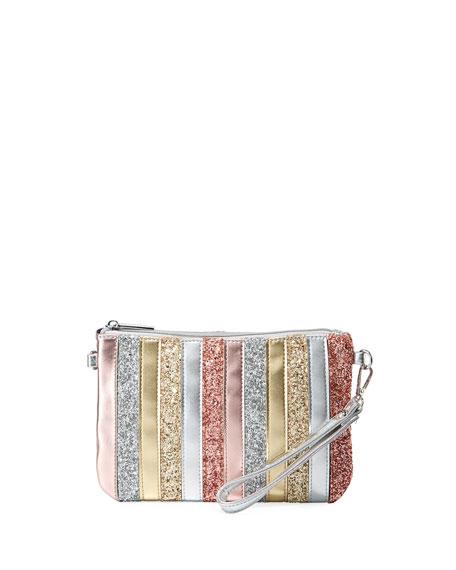 BARI LYNN Girls' Stripe Sparkle Clutch Bag in Red