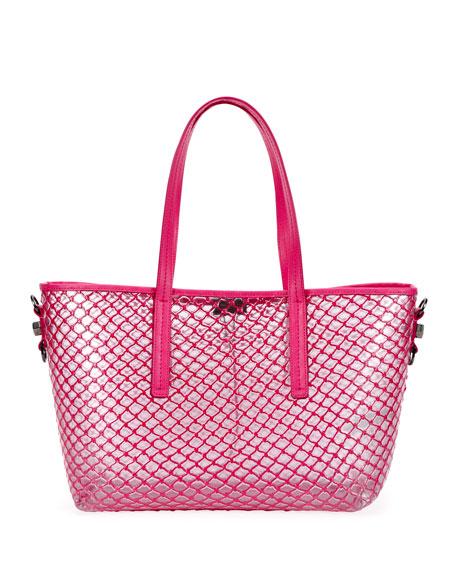PVC Net Shopper Tote Bag, Fuchsia