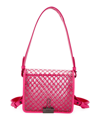PVC Net Flap Crossbody Bag, Fuchsia