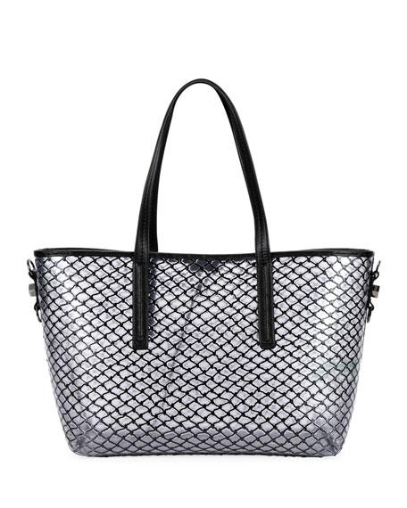 PVC Net Shopper Tote Bag, Black