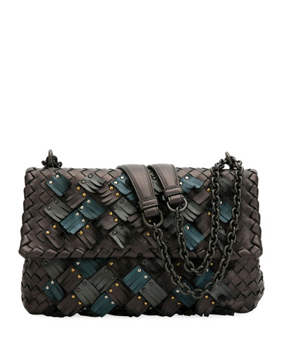Olimpia Small Plume Woven Leather Shoulder Bag