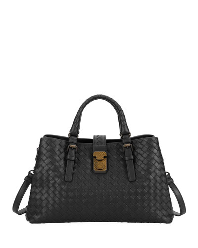 Roma Small Woven Top Handle Bag