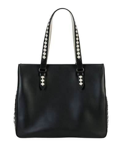 Calf Leather Gusset Tote Bag