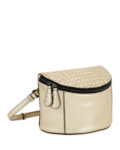 Metallic Leather Zip Crossbody Bag