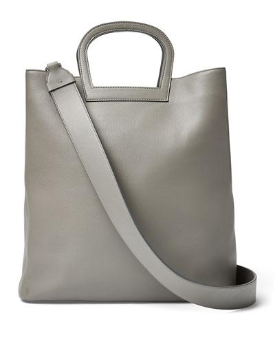 Horseshoe Tall Leather Tote Bag, Gray