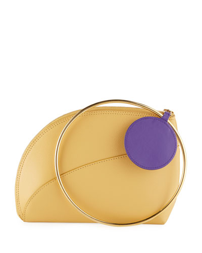 Eartha Small Leather Ring-Handle Clutch Bag