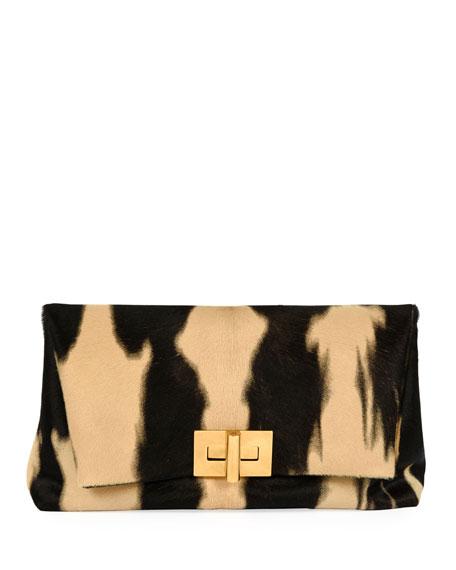 Tie-Dye Baby Calf Turn-Lock Clutch Bag, Black Pattern