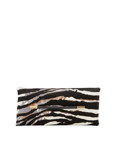 Ava Zebra-Print Calf Hair Clutch Bag in White/Black