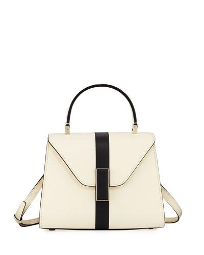 Iside Mini Saffiano Stripe Leather Satchel Bag