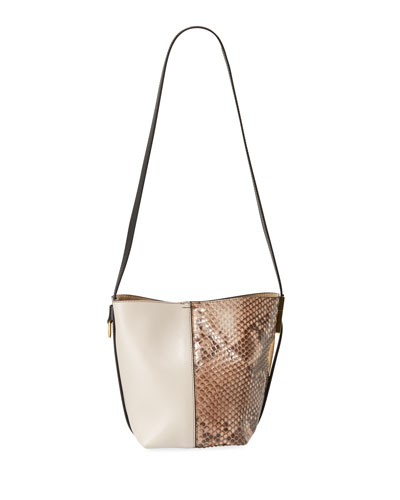 GV Mini Python & Leather Bucket Bag
