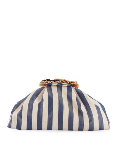 Salerno Striped Clutch Bag