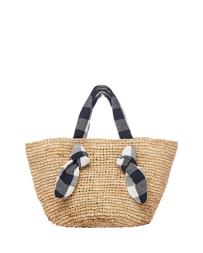 Hazel Straw Wide Tote Bag