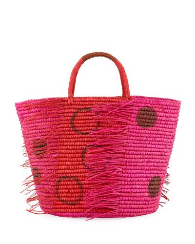 Medium Frayed Polka Dot Tote Bag