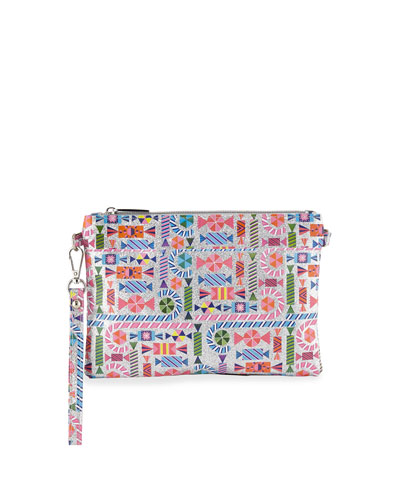 Girls' Shimmer Candy-Print Clutch Bag w/ Crystal Candy Key Chains