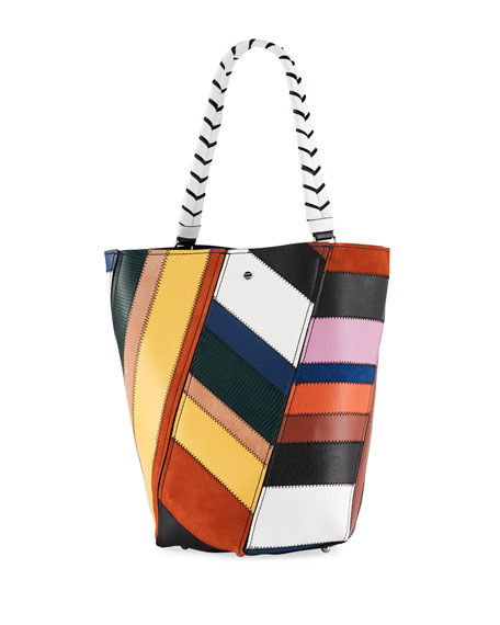 Hex Medium Colorful Patchwork Leather Bucket Bag