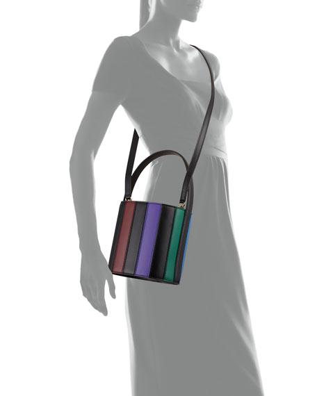 Striped Leather Bisset Top Handle Bag