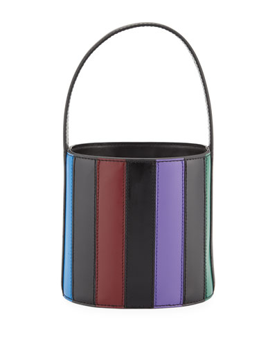 Striped Leather Bisset Top Handle Bag