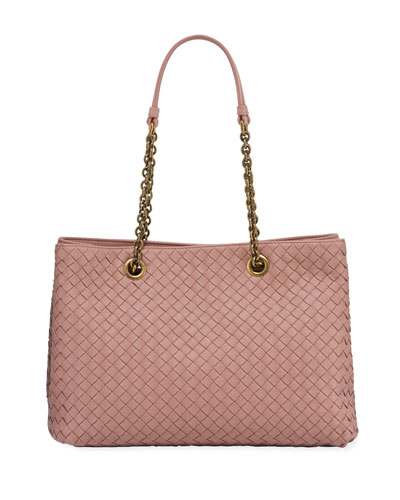 Intrecciato Small Double-Chain Tote Bag