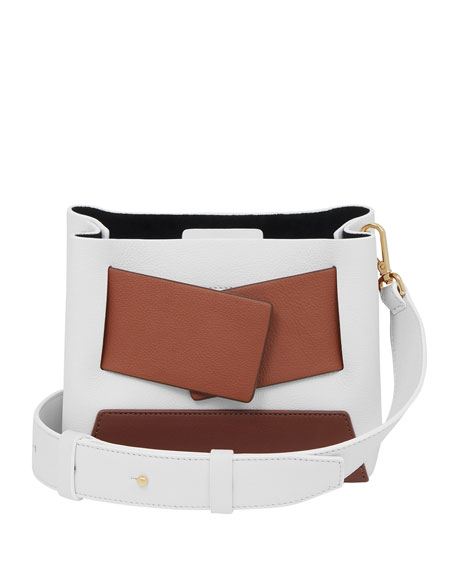 Dinky Two-Tone Shoulder Bag, White/Brown