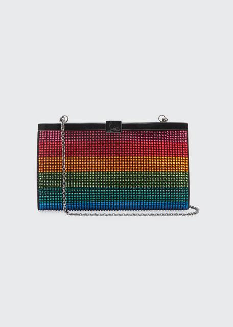Christian Louboutin Palmette Small Rainbow Crystal Suede Clutch