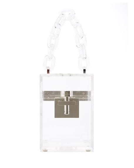Oscar De La Renta ALIBI BOX TRANSPARENT TOP-HANDLE BAG