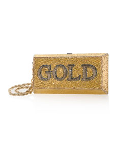 Gold Brick Crystal Clutch Bag by Judith Leiber Couture