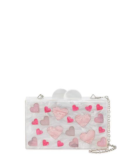 Girls' Hearts Acrylic Box Clutch Bag, Multi
