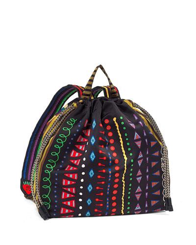 Geometric-Printed Nylon Backpack