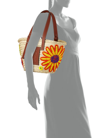 Flowers Medium Woven Tote Bag