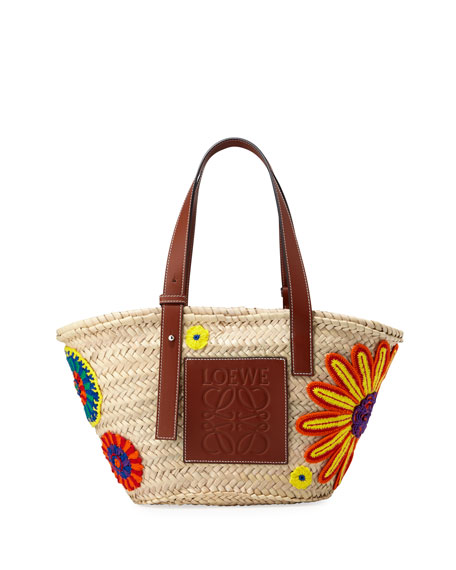 Loewe Flowers Medium Woven Tote Bag