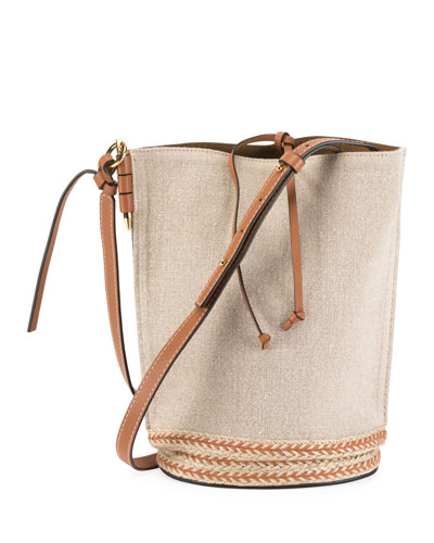 Gate Espadrillas Leather Jute-Trim Bucket Bag