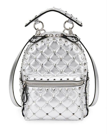 eca700197d Valentino Garavani Rockstud Spike Mini Metallic Leather Backpack