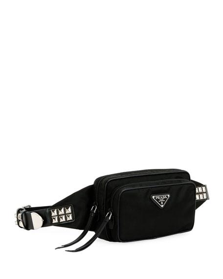 ce1adf7cdcdfb Prada Black Nylon Belt Bag With Studding