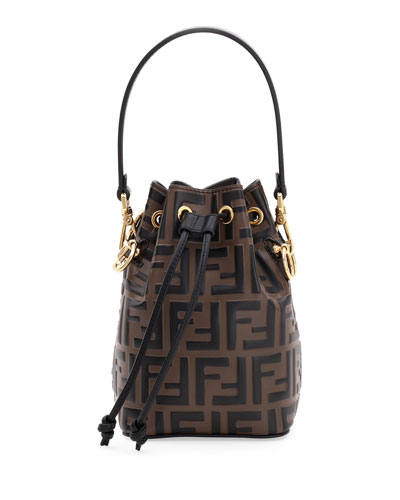Mon Tresor FF-Embossed Leather Bucket Bag