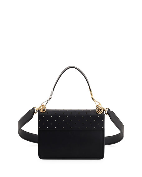 Kan I Logo Seal Studded Leather Shoulder Bag