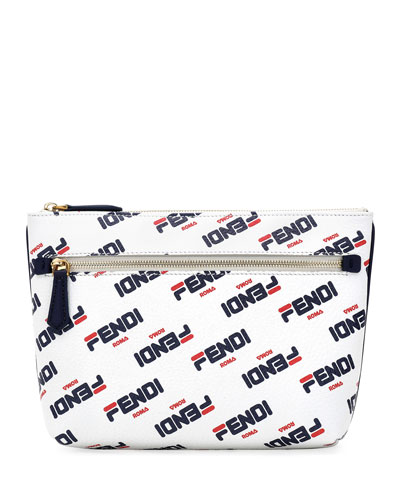 Fendi Mania Pebbled Clutch Bag