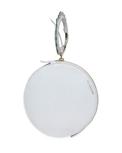 Round Leather Bracelet Wallet Bag