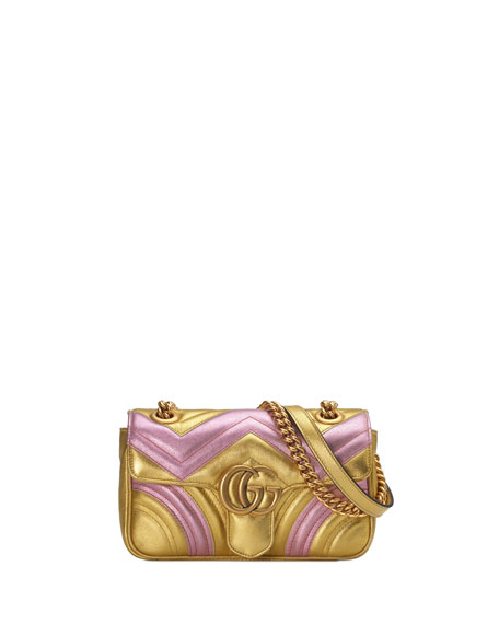 Gucci GG Marmont Mini Quilted Metallic Leather Shoulder