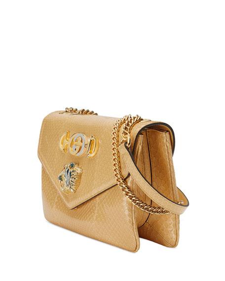 Lizard Embellished Python Shoulder Bag