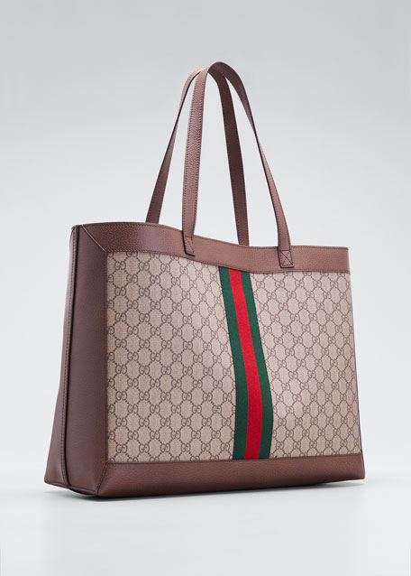 3aab7725529 Gucci Ophidia Soft GG Supreme Canvas Tote Bag with Web
