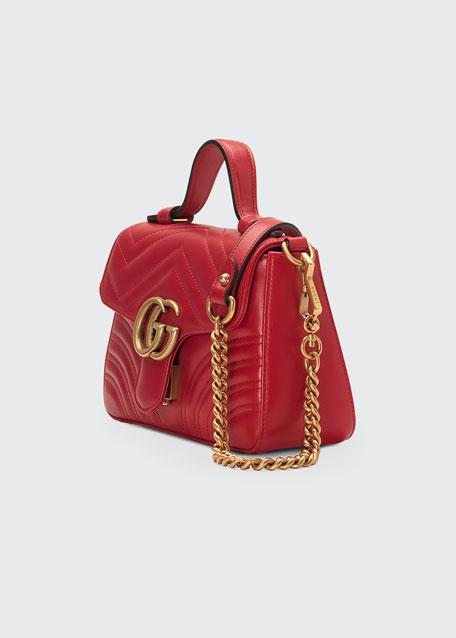 a65abde2046 Gucci GG Marmont Mini Chevron Leather Satchel Bag