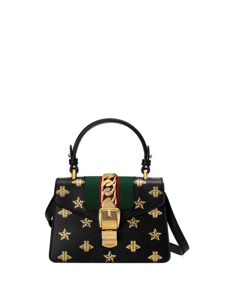 Sylvie Small Bee-Print Leather Top-Handle Satchel Bag in Black/Gold