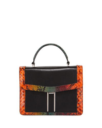 H Top-Handle Tie-Dye Python Crossbody Bag