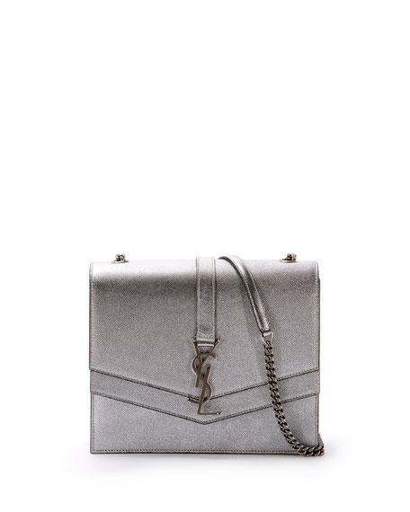 7be0070dc65 Saint Laurent Sulpice Medium YSL Monogram Triple V-Flap Metallic Leather  Crossbody Bag