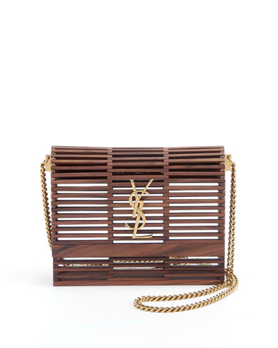 Small Kate Wooden Weave Box Bag