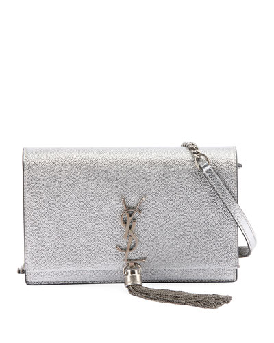 Kate Monogram YSL Small Crackled Metallic Tassel Wallet on Chain - Silver Hardware