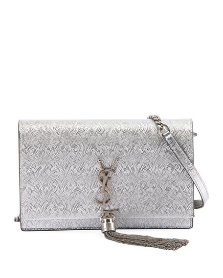 4b0e7dac87db Saint Laurent Kate Monogram YSL Small Crackled Metallic Tassel Wallet on  Chain - Silver Hardware