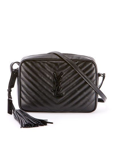 Loulou Monogram YSL Medium Chevron Quilted Leather Camera Shoulder Bag - Black Hardware