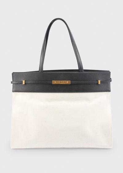 Manhattan Medium Two-Tone Canvas/Leather Tote Bag