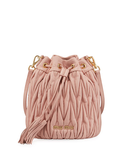 Quilted Leather Drawstring Shoulder Bag